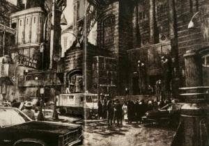 Planche d'Anton Furst pour Gotham City